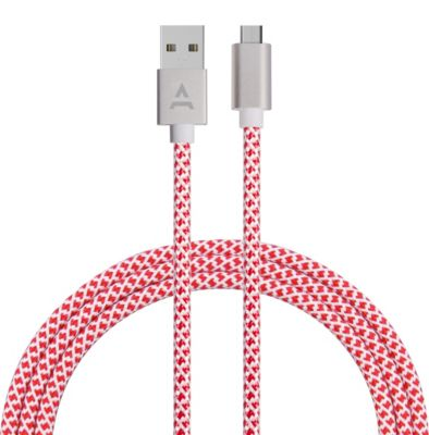 Câble Micro usb adeqwat 2m rouge/blanc