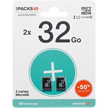 Mémoire ESSENTIELB Pack microSDHC 32+32Go LOISIR