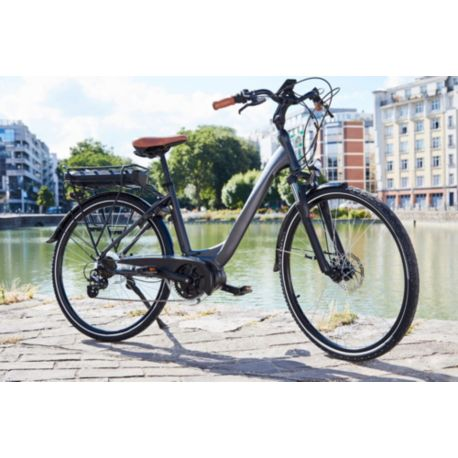 "Vélo VAE ESSENTIELB Urban 600 28"" gris noir"