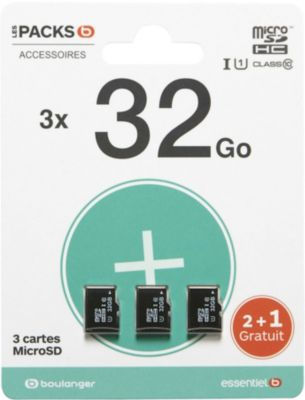 Carte Micro SD Essentielb Pack de 3 cartes micro SD 32Go