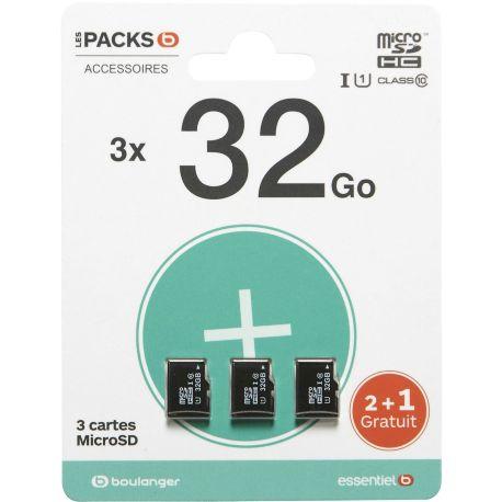 Mémoire ESSENTIELB Pack de 3 cartes micro SD 32Go