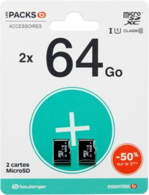 Carte Micro SD Essentielb Pack de 2 cartes micro SDXC 64Go