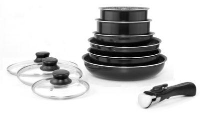 Batterie de cuisine arthur martin 10 pièces noir am310b