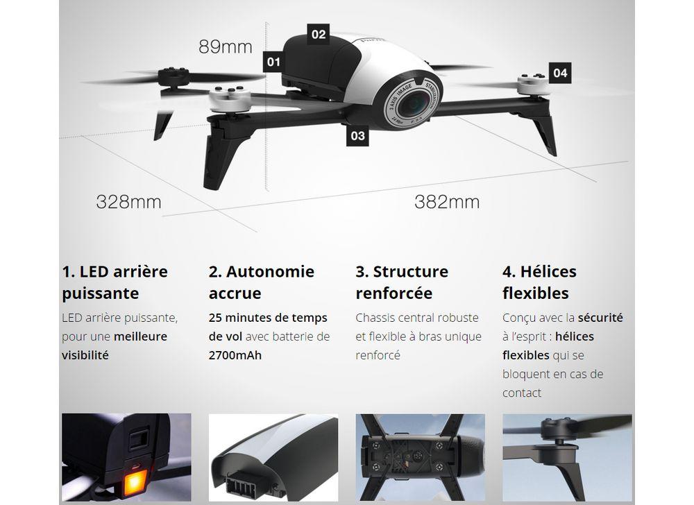 parrot bebop 2 blanc drone boulanger. Black Bedroom Furniture Sets. Home Design Ideas