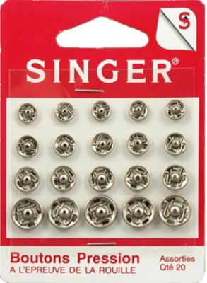Accessoire Couture singer boutons pression assorties nickelés