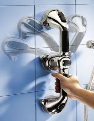Amenagement salle de bain Hestec Double barre ventouse chrome