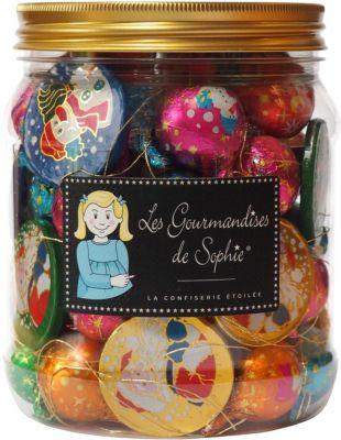 Bonbons Gourmandises sophie boules decor sapin et pieces chocolat