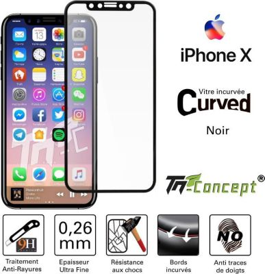 tm concept apple iphone x noir curved accessoire iphone boulanger. Black Bedroom Furniture Sets. Home Design Ideas