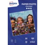 Papier AVERY 50 Photos brillantes A4 160