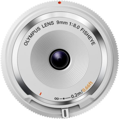 Objectif pour Hybride Olympus 9mm f/8 fisheye Blanc