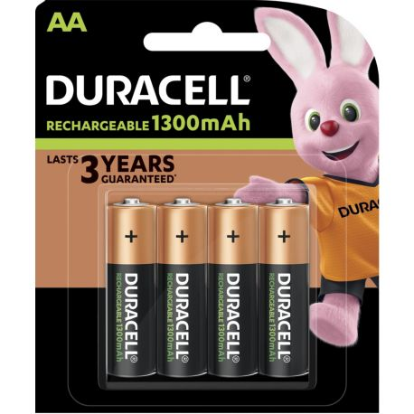 Piles rechargeables DURACELL Plus Power 4 x AA 1300mAh