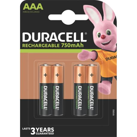 Piles rechargeables DURACELL Plus Power 4 x AAA 750mAh