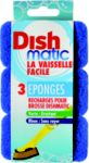 DISHMATIC Lot de 3 recharges éponges bl