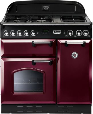 Falcon clas90 mixt rouge chrome piano de cuisson boulanger - Piano de cuisson rouge ...