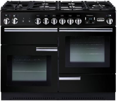 Piano de cuisson mixte Falcon PROFESSIONAL + 110 MIXTE NOIR CHROME + Hotte grande largeur Falcon 110 NOIR CHROM SS BARRE