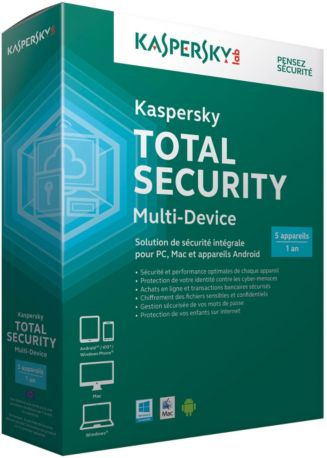 Logiciel PC  KASPERSKY Total Security Multi-Device 2016 5postes