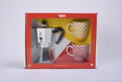 Cafetière Italienne bialetti moka 6 tasses + 2 mug jaune / rouge
