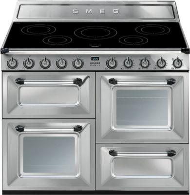 Piano de cuisson induction smeg tr4110ix + crédence smeg credence 110 cm noire kit1tr41n + hotte grande largeur smeg kt110ble