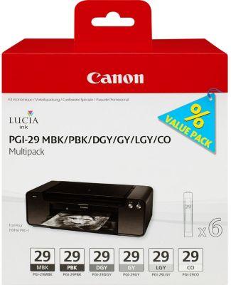 Cartouche d'encre Canon 6 cartouches noir/gris PGI-29
