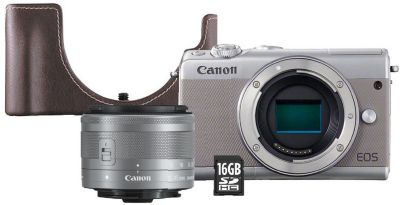 Appareil photo Hybride Canon EOS M100 Gris+15-45mm+Etui+SD 16Go