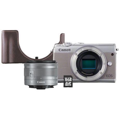 Appareil photo numérique CANON EOS M100 Gris+15-45mm+Etui+SD 16Go