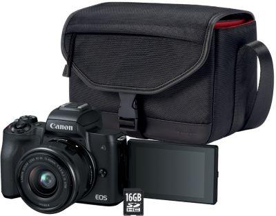 Appareil Photo hybride canon eos m50 noir + 15-45mm + etui + sd 16go