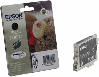 Cartouche d'encre Epson T0611 noir série Ourson