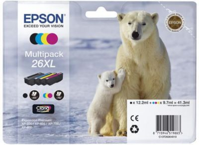 Cartouche d'encre Epson T2636 XL (N/C/M/J) Ours Polaire