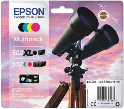 Cartouche d'encre Epson 502 Noir XL+C/M/J Série Jumelles