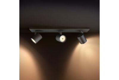 Lampe PHILIPS Runner Hue 3x Spot Noir + télécommande