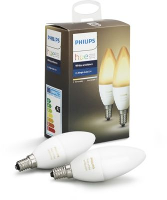 Ampoule connectée Philips Pack x2 E14 White & Ambiance