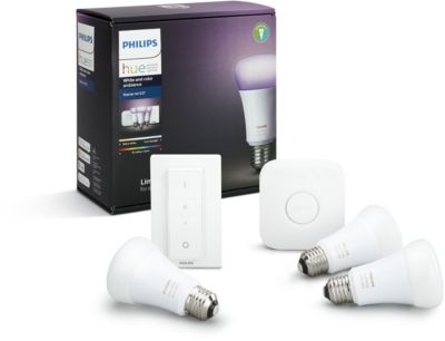 Pack Philips démarrage E27 Hue white & colors + Caméra de sécurité Somfy Protect One Security Camera - Noir