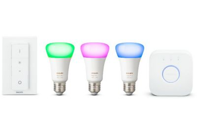 PACK PHILIPS HUE E27 WHITE&COLORS+GOOGLE MINI CHARBON