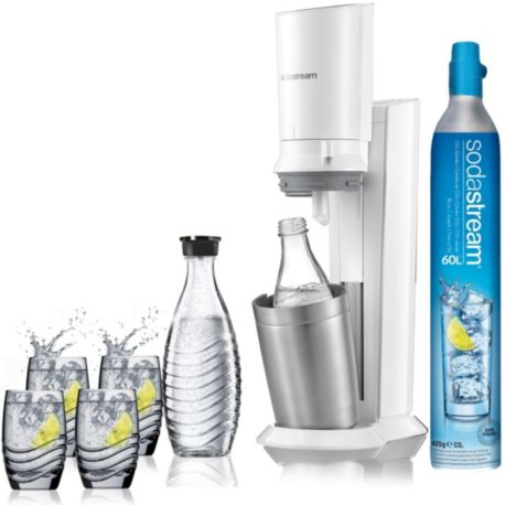 Machine à soda SODASTREAM Machine CRYSTAL blanche pack verre