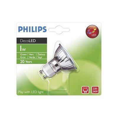 philips led r flecteur gu10 1w vert ampoule clairage. Black Bedroom Furniture Sets. Home Design Ideas