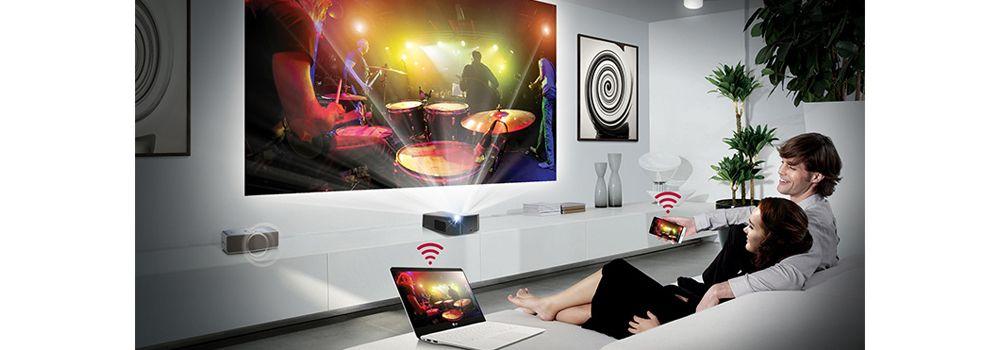 Lg pf1000u ultra courte focale vid oprojecteur boulanger - Videoprojecteur home cinema pour un interieur ultra moderne ...