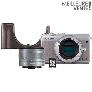 Appareil Photo Hybride Canon Eos M100 Gris15 45mmetuisd 16go