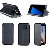 Etui Xeptio Samsung Galaxy S7 4G noir Cuir stand
