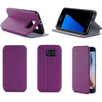Xeptio Samsung Galaxy S7 4G violet Cuir stand
