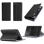 Etui Xeptio Sony Xperia XZ1 4G noir avec stand