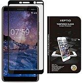 Protège écran Xeptio Nokia 7 Plus verre trempé full noir