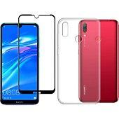Protège écran Xeptio Huawei Y7 2019 gel tpu et full noir