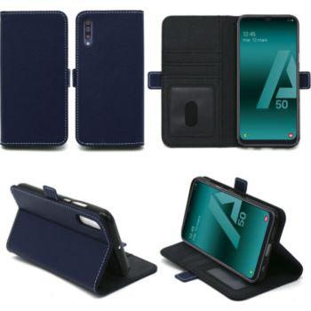 faire les courses pour code de promo qualité supérieure Housse Xeptio Samsung Galaxy A50 portefeuille bleu