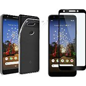 Protège écran Xeptio Google Pixel 3A gel tpu et full noir