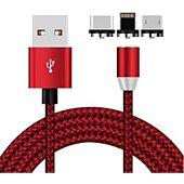 Câble trio Xeptio Câble magnétique USB Type C 1m rouge