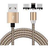 Câble trio Xeptio Câble magnétique USB Type C 2m gold