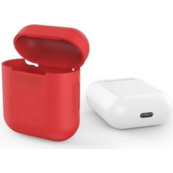 Shot Case Coque Silicone AirPods Boitier (ROUGE)