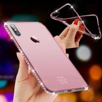 Shot Case IPHONE Xr Coque Diamants ROSE + Film