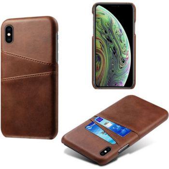 Shot Case Coque Porte-cartes IPHONE Xs Cuir MARRON