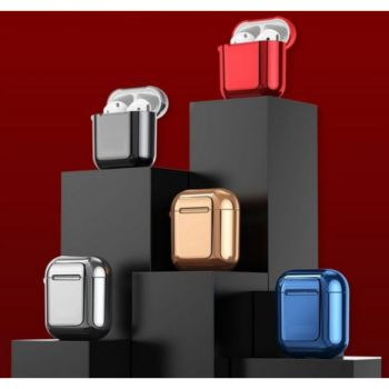 Shot Case Coque Effet Metal AirPods Design ROUGE